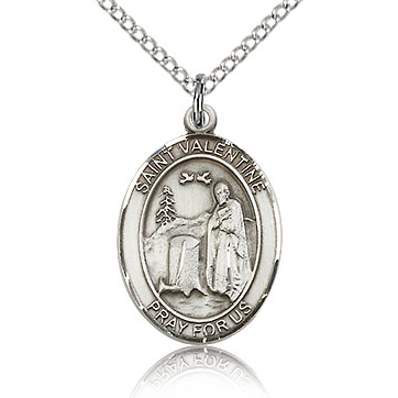 Sterling Silver 3/4in St Valentine Medal & 18in Chain