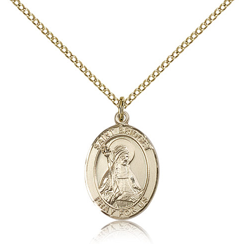 Gold Filled 3/4in St Bridget Medal & 18in Chain