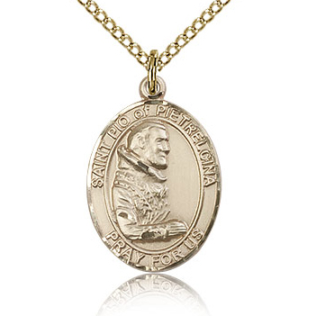 Gold Filled 3/4in St Pio Medal & 18in Chain