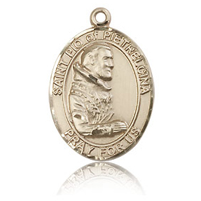 14kt Yellow Gold 3/4in St Pio Medal