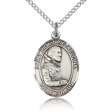 Sterling Silver 3/4in St Pio Medal & 18in Chain