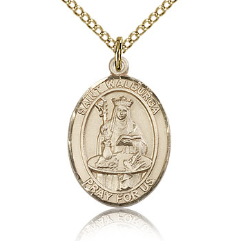 Gold Filled 3/4in St Walburga Medal & 18in Chain