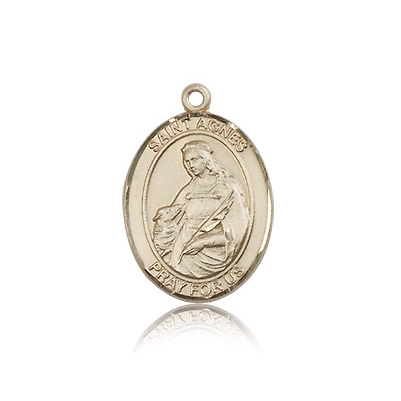 14kt Yellow Gold 3/4in St Agnes Medal