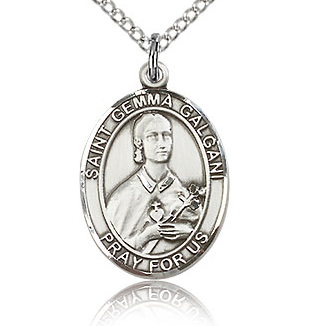 Sterling Silver 3/4in St Gemma Galgani Medal & 18in Chain