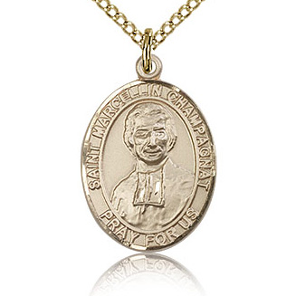 Gold Filled 3/4in St Marcellin Champagnat Medal & 18in Chain
