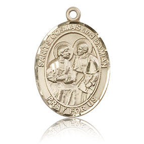 14kt Yellow Gold 3/4in Saints Cosmas and Damian Medal