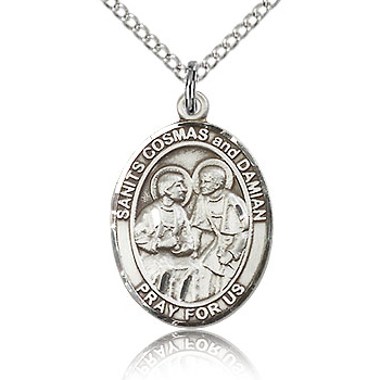 Sterling Silver 3/4in St Cosmas and Damian Medal & 18in Chain