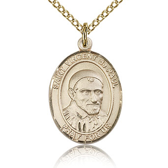Gold Filled 3/4in St Vincent de Paul Medal & 18in Chain