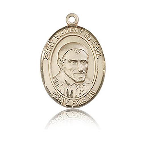 14kt Yellow Gold 3/4in St Vincent de Paul Medal