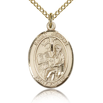 Gold Filled 3/4in St Jerome Medal & 18in Chain