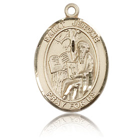 14kt Yellow Gold 3/4in St Jerome Medal