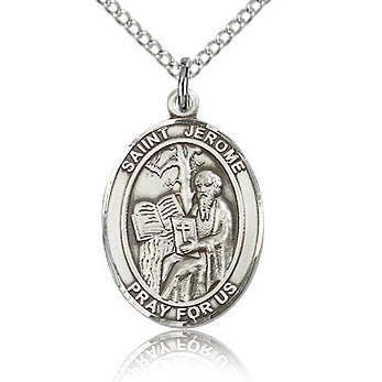 Sterling Silver 3/4in St Jerome Medal & 18in Chain