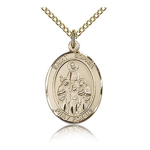 Gold Filled 3/4in St Sophia Medal & 18in Chain