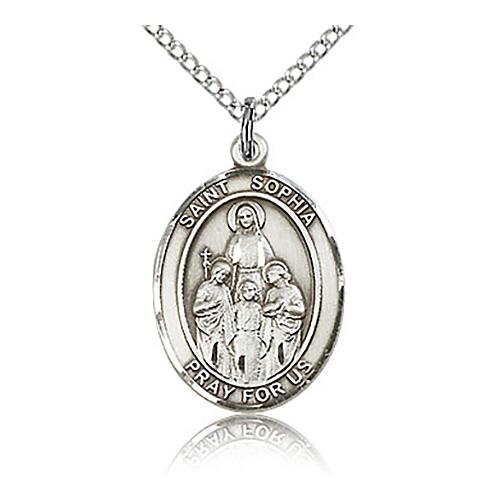 Sterling Silver 3/4in St Sophia Medal & 18in Chain