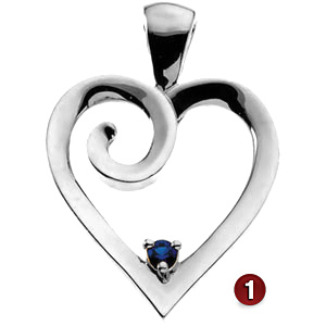 Curl Heart Sterling Silver Mother's Pendant