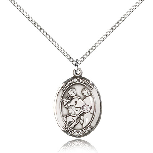 Sterling Silver 3/4in St Cecilia Band Medal & 18in Chain