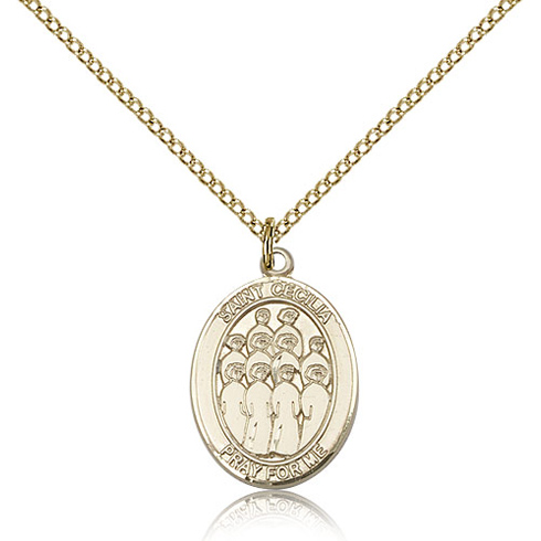 Gold Filled 3/4in St Cecilia Choir Medal & 18in Chain