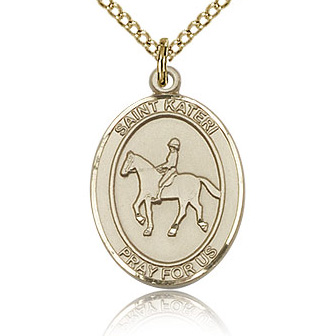Gold Filled 3/4in St Kateri Equestrian Medal & 18in Chain