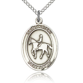 Sterling Silver 3/4in St Kateri Equestrian Medal & 18in Chain
