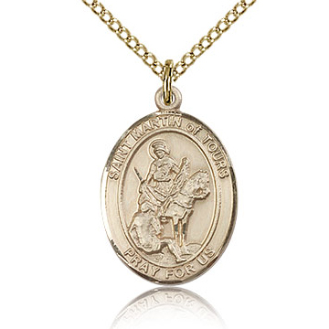 Gold Filled 3/4in St Martin of Tours Medal & 18in Chain