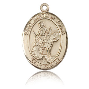 14kt Yellow Gold 3/4in St Martin of Tours Medal