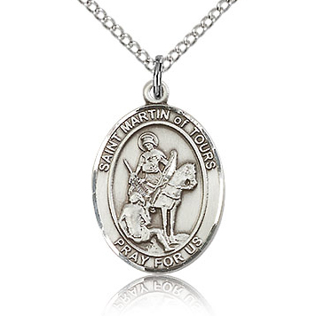 Sterling Silver 3/4in St Martin of Tours Medal & 18in Chain