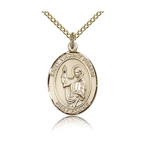 Gold Filled 3/4in St Vincent Ferrer Medal & 18in Chain