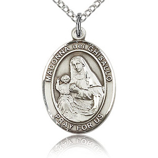Sterling Silver 3/4in St Madonna Del Ghisallo Medal & 18in Chain