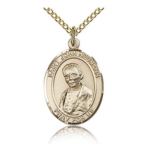 Gold Filled 3/4in St John Neumann Medal & 18in Chain