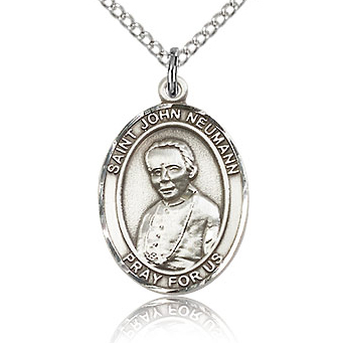 Sterling Silver 3/4in St John Neumann Medal & 18in Chain