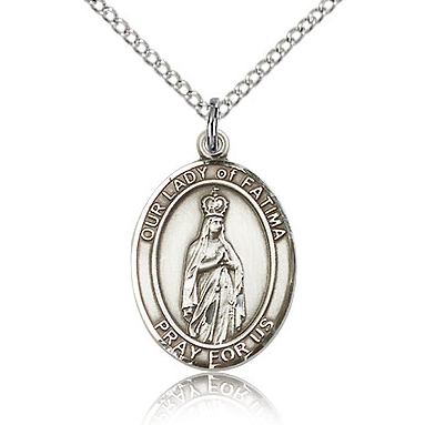 Sterling Silver 3/4in Our Lady of Fatima Medal & 18in Chain