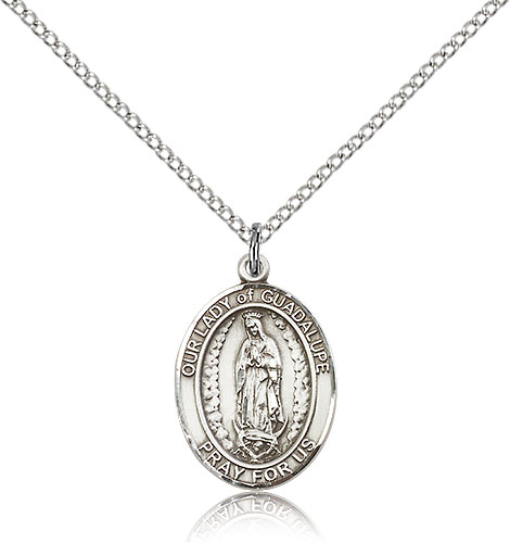 Sterling Silver 3/4in Our Lady of Guadalupe Medal & 18in Chain