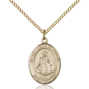 Gold Filled 3/4in Oval Infant of Prague Medal & 18in Chain