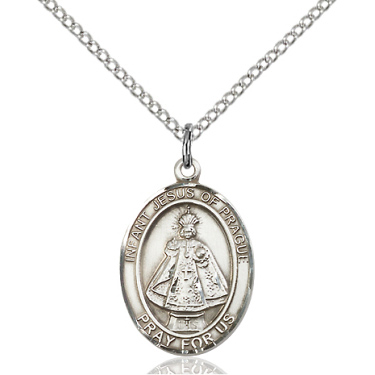 Sterling Silver 3/4in Oval Infant of Prague Medal & 18in Chain