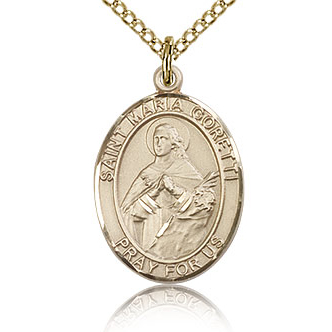 Gold Filled 3/4in St Maria Goretti Medal & 18in Chain