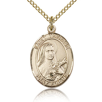 Gold Filled 3/4in St Therese of Lisieux Medal & 18in Chain