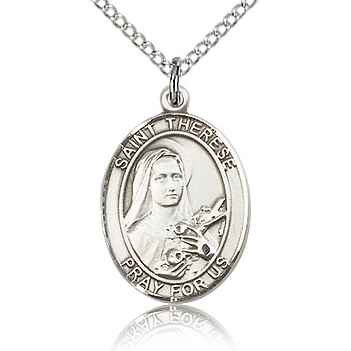 Sterling Silver 3/4in St Therese of Lisieux Medal & 18in Chain