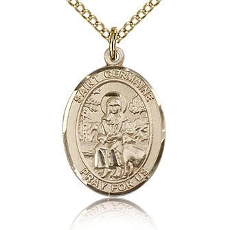Gold Filled 3/4in St Germaine Cousin Medal & 18in Chain
