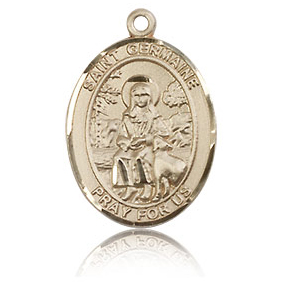 14kt Yellow Gold 3/4in St Germaine Cousin Medal