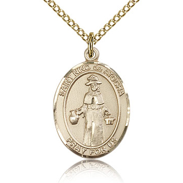Gold Filled 3/4in St Nino de Atocha Medal & 18in Chain