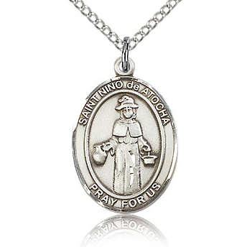 Sterling Silver 3/4in St Nino de Atocha Medal & 18in Chain