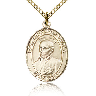 Gold Filled 3/4in St Ignatius Medal & 18in Chain