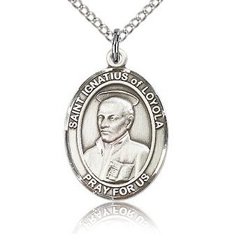 Sterling Silver 3/4in St Ignatius Medal & 18in Chain