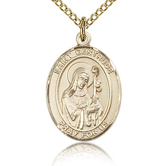Gold Filled 3/4in St Gertrude Medal & 18in Chain