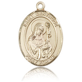 14kt Yellow Gold 3/4in St Gertrude Medal