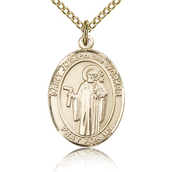 Gold Filled 3/4in St Joseph the Worker Medal & 18in Chain