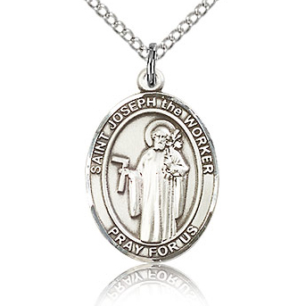 Sterling Silver 3/4in St Joseph the Worker Medal & 18in Chain