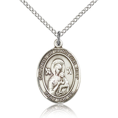 Sterling Silver 3/4in Lady of Perpetual Help Medal & 18in Chain