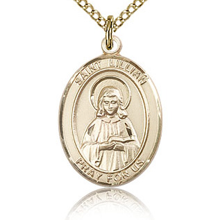 Gold Filled 3/4in St Lillian Medal & 18in Chain