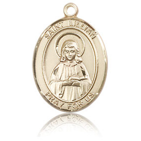 14kt Yellow Gold 3/4in St Lillian Medal
